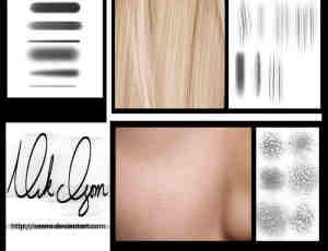 细致皮肤纹理、发丝CG画笔笔刷素材