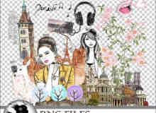 手绘水粉卡通女孩、城市等照片装饰素材