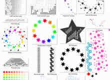 各色样式的五角星装饰Photoshop笔刷素材