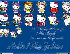 可爱呆萌!星座Hello Kitty卡通造型美图素材