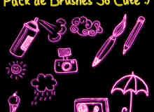 呆萌!荧光卡通涂鸦喷漆罐、画笔、相机、太阳、雨伞、磁带等Photoshop笔刷