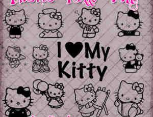 呆萌Hello Kitty图形Photoshop笔刷素材