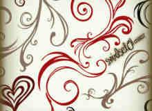 艺术手绘漩涡植物花纹爱心图案Photoshop美图背景笔刷