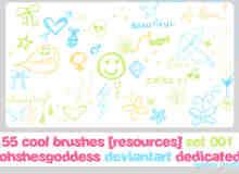 超级呆萌童趣涂鸦爱心、雨伞、蝴蝶结、笑脸、星星等PS美图笔刷