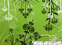 俏皮植物花纹照片背景边框装饰Photoshop美图笔刷