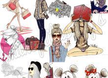 已扣!时尚都市女孩卡通造型美图素材下载