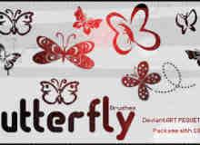 漂亮的艺术蝴蝶剪影Photoshop笔刷