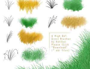 手绘青草、草丛、芦苇、狗尾草CG绘画Photoshop笔刷