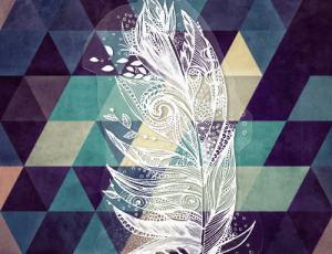 一根漂亮的手绘花纹式羽毛Photoshop笔刷