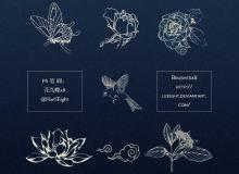 中国风格手绘花鸟图案Photoshop笔刷素材