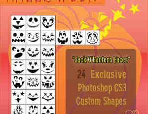 万圣节搞笑恐怖鬼脸photoshop自定义形状素材 .csh 下载