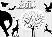 大象、老鹰、蝴蝶、蝙蝠、麋鹿等剪影图形PS笔刷