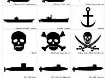 一套潜艇、帆船、海盗标志PS自定义图形素材