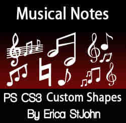 PS CS3音符、音阶图案photoshop自定义形状素材 .csh 下载