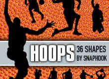 """一套""""灌篮高手""""篮球运动员PS自定义形状素材"""