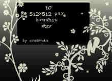 漂亮的植物花纹照片美图背景边框饰品PS笔刷 #.41