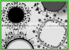 花圈式小清新植物花纹PS笔刷素材