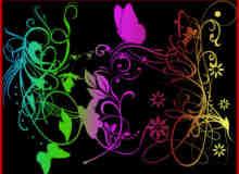 漂亮的艺术蝴蝶植物花纹PS照片美图笔刷