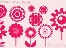 漂亮的鲜花、太阳花朵矢量photoshop笔刷素材
