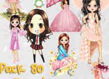 80个漂亮的卡通小女孩美图秀秀素材包下载