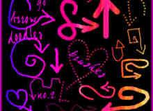 手绘童趣涂鸦箭头符号PS美图笔刷
