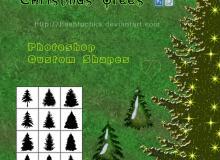 圣诞节专用圣诞松树photoshop自定义形状素材 .csh 下载