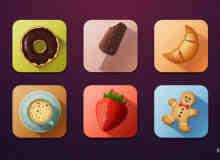 一组高品质食品App应用图标PSD素材下载