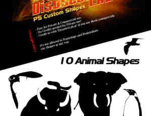大象、企鹅、公牛剪影photoshop自定义形状素材 .csh 下载