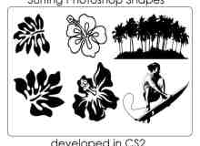 手绘花纹、树林、冲浪爱好者photoshop自定义形状素材 .csh 下载