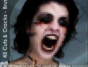 恐怖裂纹、血痕Photoshop笔刷素材
