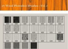 25种高级木头纹理、木板横截面材质Photoshop笔刷