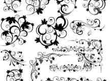 优雅的漩涡植物花纹图案Photoshop笔刷素材