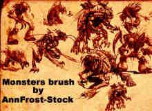 恐怖怪物、怪兽图案Photoshop笔刷素材