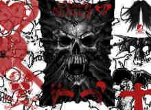 张狂地狱恶魔骷髅头图像PS笔刷素材