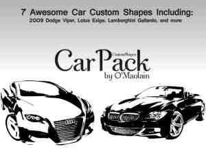 超跑汽车版刻印刷图案photoshop自定义形状素材 .csh 下载