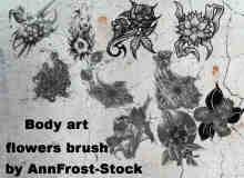 人体艺术之花朵纹身图案Photoshop笔刷