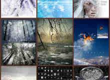 冰凌柱、雪场背景、雪花、雪地、下雪等PS雪笔刷