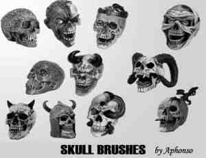 地狱恶魔头颅、魔鬼骷髅头、羊角骷髅头Photoshop笔刷