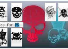 12种艺术骷髅头图形Photoshop笔刷素材