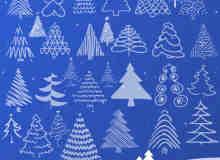 手绘卡通圣诞树Photoshop卡通树木笔刷