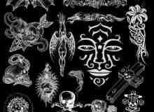 非主流元素纹身图案、夸张纹饰PS笔刷素材