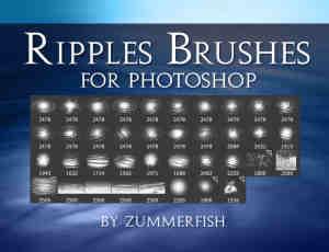 高清水面纹理、水中荡漾、水面波纹Photoshop笔刷素材