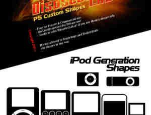 苹果iPod音乐播放器photoshop自定义形状素材 .csh 下载