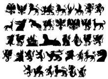 欧洲神兽图腾、天马独角兽、狮身人面像等剪影Photoshop笔刷