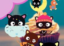 16个超级萌可爱卡通小黑猫美图秀秀笔刷包下载