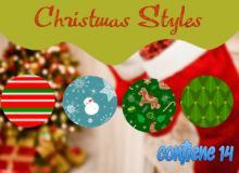 圣诞节风格卡通背景Photoshop自定义样式风格素材下载 .asl