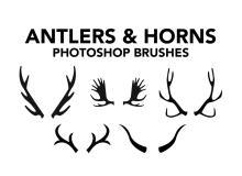 动物鹿角、山羊角、羚羊角、麋鹿角等犄角Photoshop笔刷素材