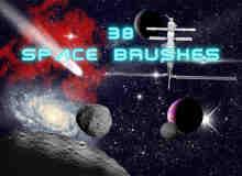 38种恒星、星系、彗星、小行星、星座、空间站等宇宙元素PS笔刷