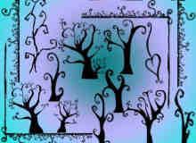 手绘涂鸦树木、漩涡小树Photoshop笔刷