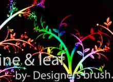 漂亮的七彩植物艺术花纹图案Photoshop笔刷下载